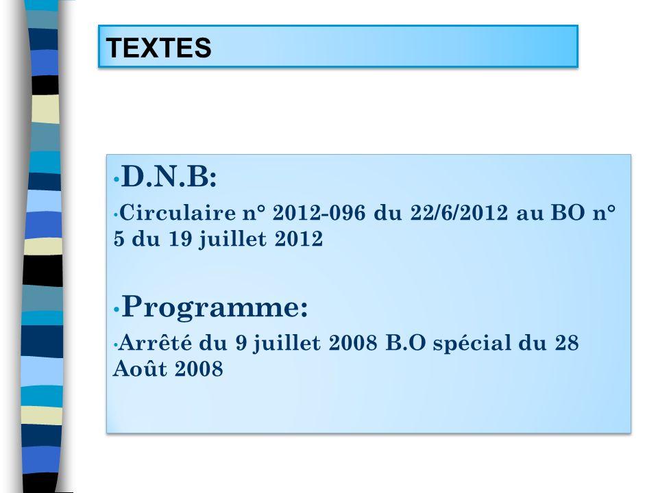 D.N.B: Programme: TEXTES