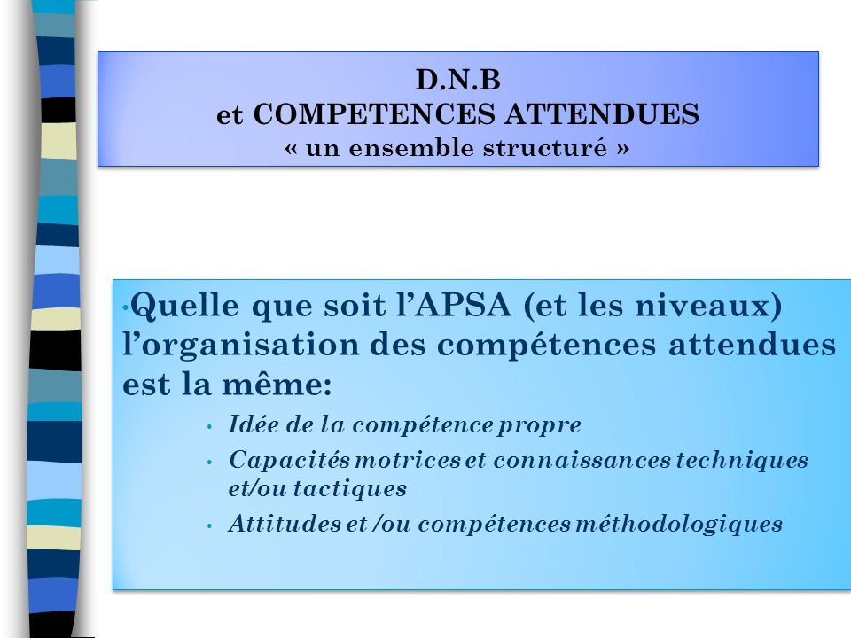 D.N.B et COMPETENCES ATTENDUES « un ensemble structuré »