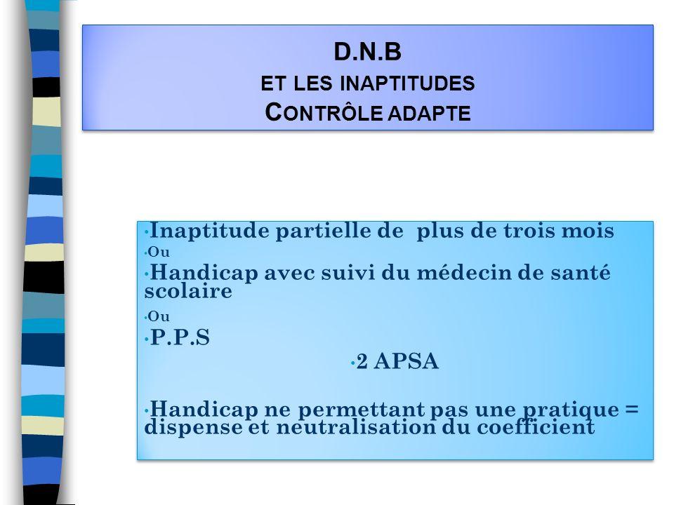 D.N.B et les inaptitudes Contrôle adapte