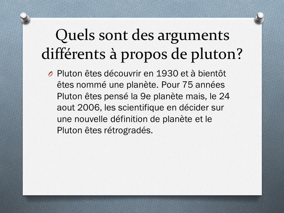 Quels sont des arguments différents à propos de pluton