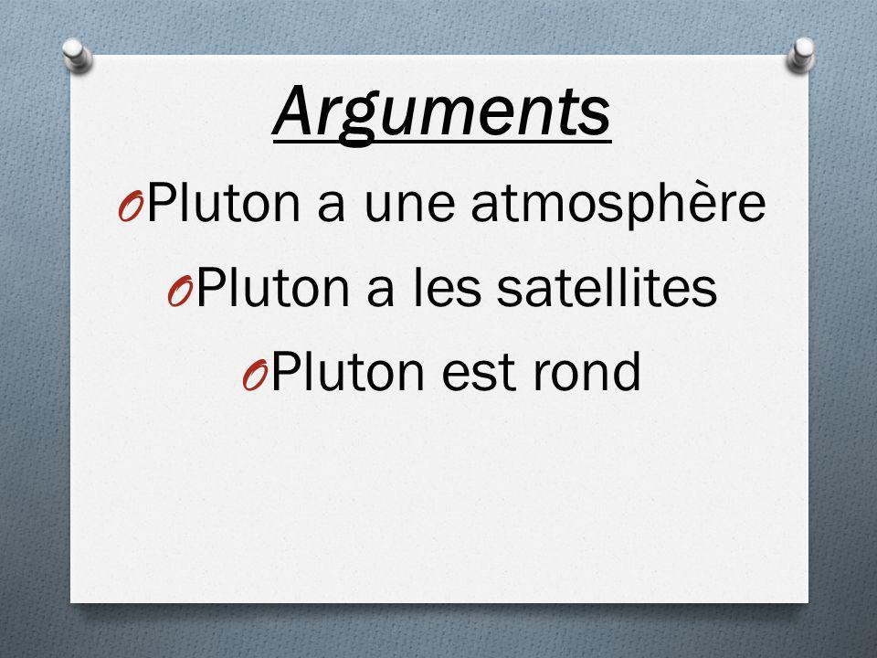 Arguments Pluton a une atmosphère Pluton a les satellites