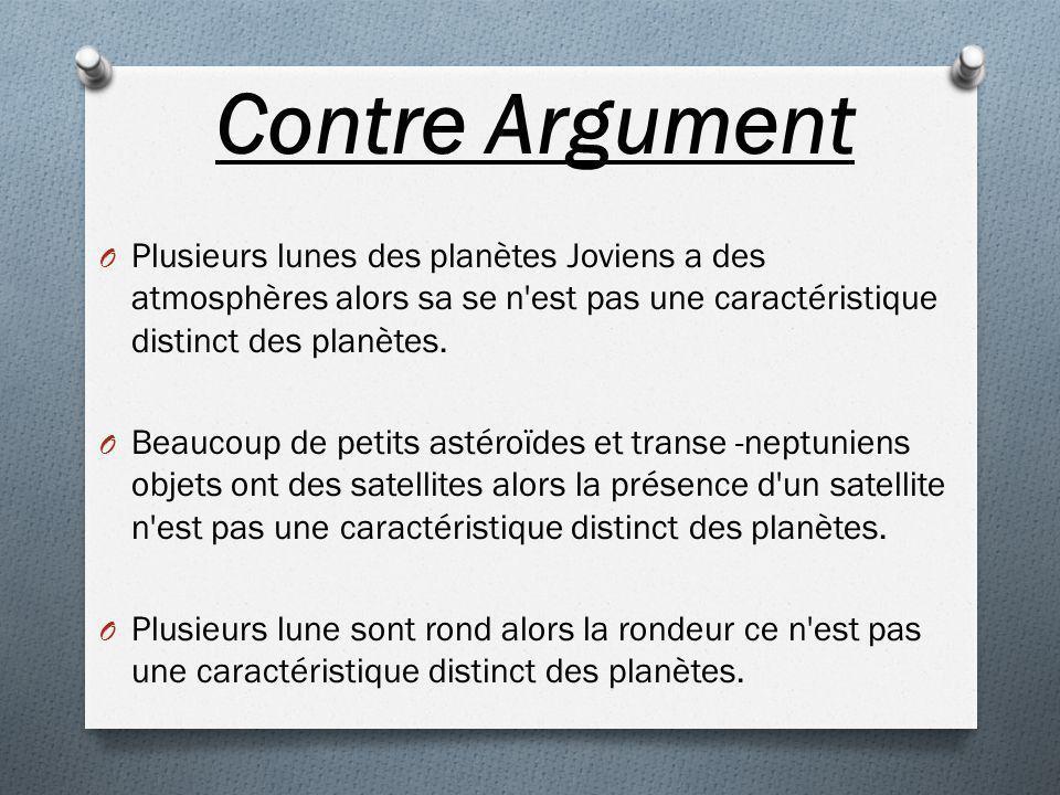 Contre Argument Plusieurs lunes des planètes Joviens a des atmosphères alors sa se n est pas une caractéristique distinct des planètes.