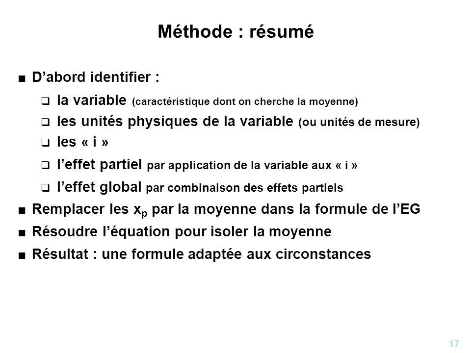 Méthode : résumé D'abord identifier :