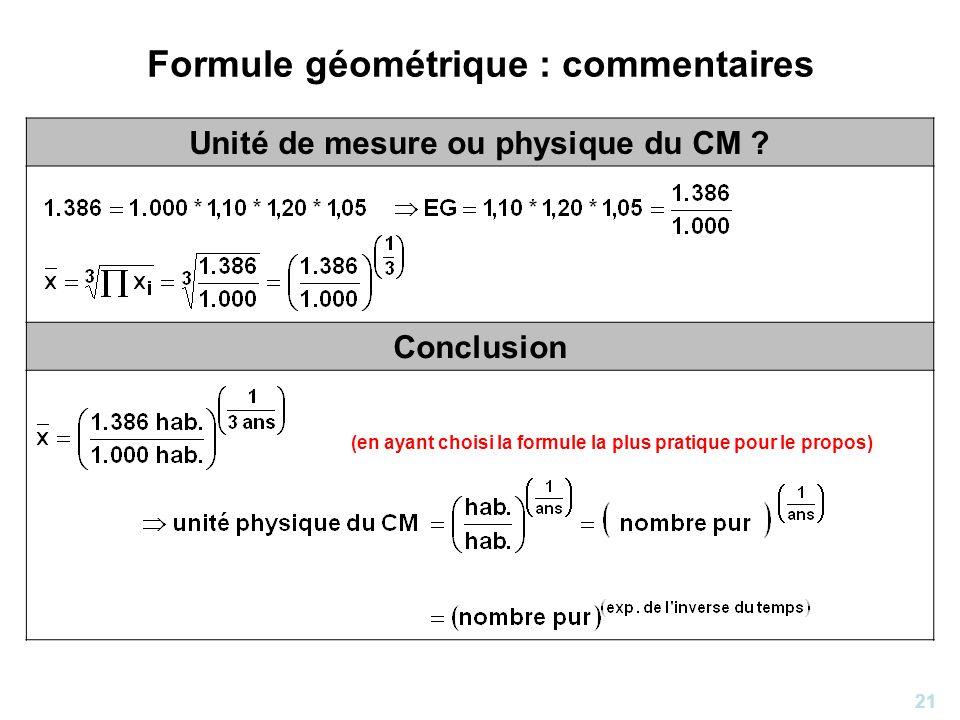 Formule géométrique : commentaires