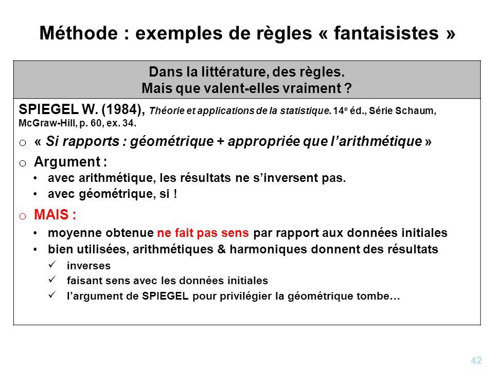 Méthode : exemples de règles « fantaisistes »