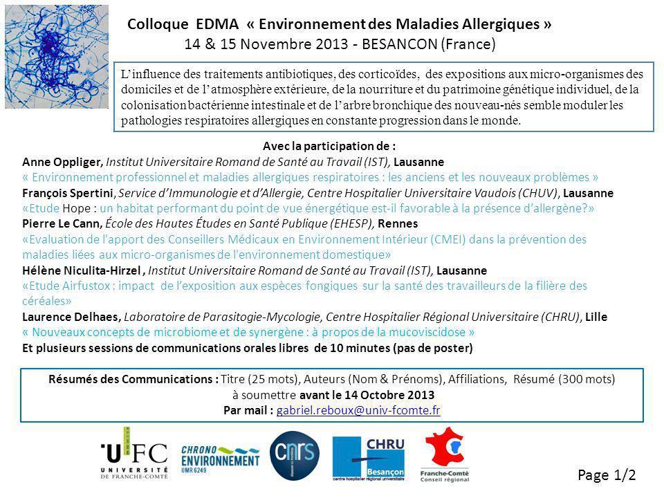 Colloque EDMA « Environnement des Maladies Allergiques »