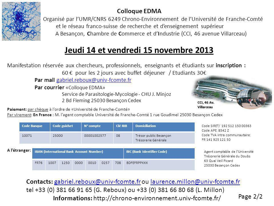 Informations: http://chrono-environnement.univ-fcomte.fr/