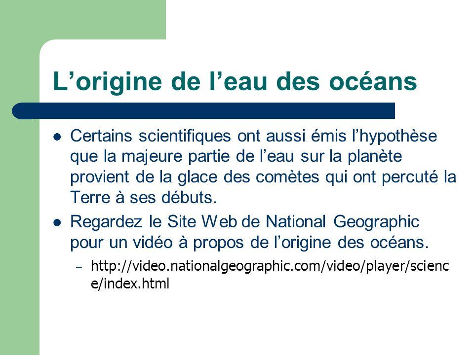 L'origine de l'eau des océans