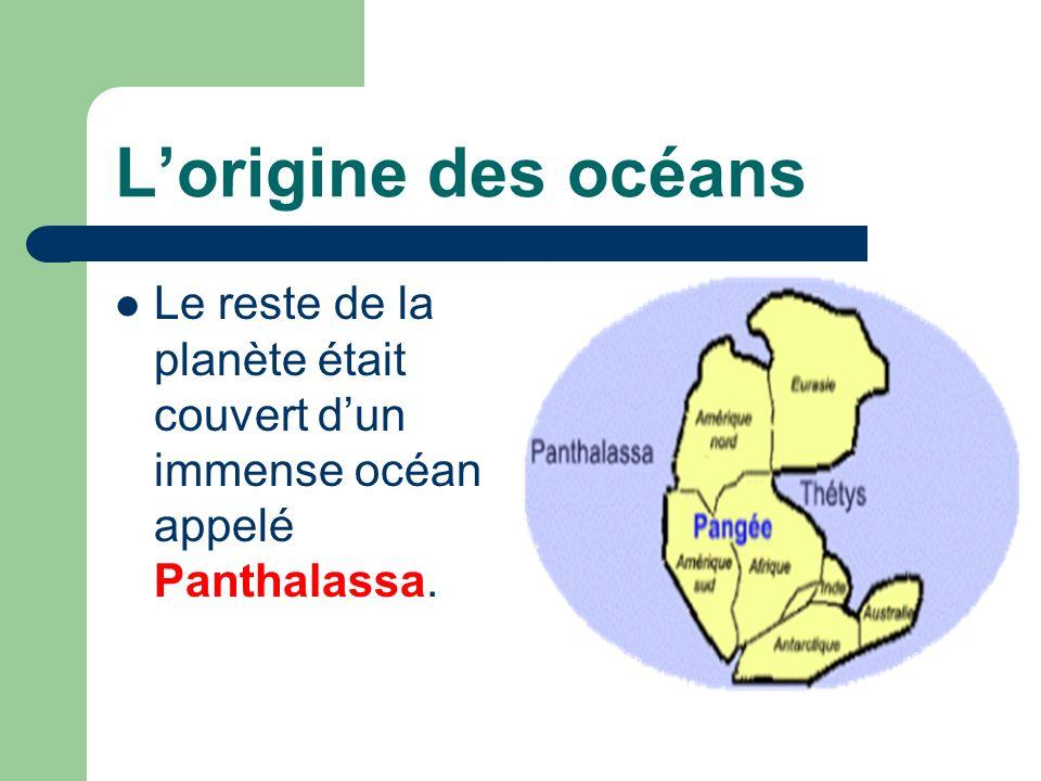 L'origine des océans Le reste de la planète était couvert d'un immense océan appelé Panthalassa.