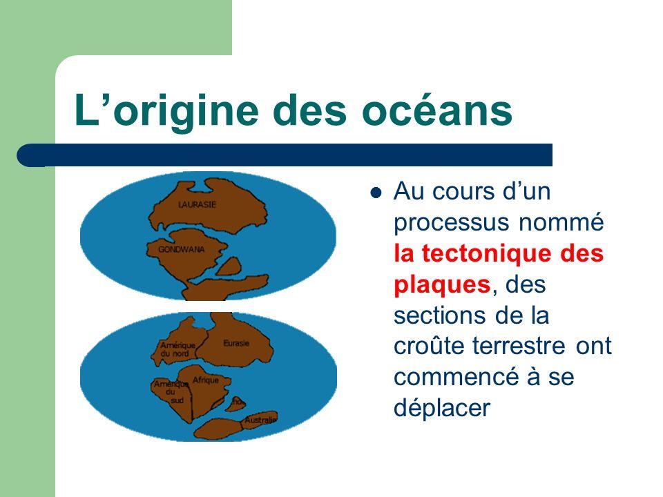 L'origine des océans Au cours d'un processus nommé la tectonique des plaques, des sections de la croûte terrestre ont commencé à se déplacer.