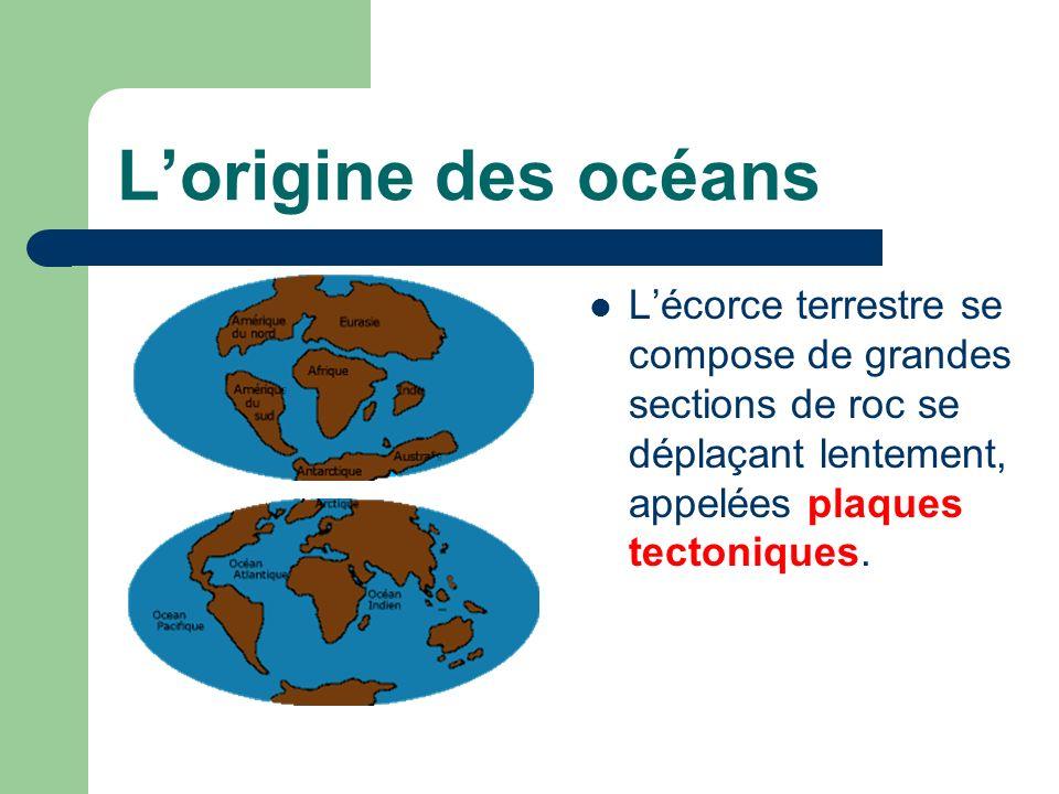 L'origine des océans L'écorce terrestre se compose de grandes sections de roc se déplaçant lentement, appelées plaques tectoniques.