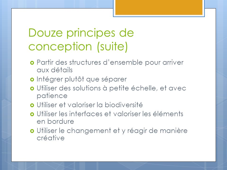 Douze principes de conception (suite)