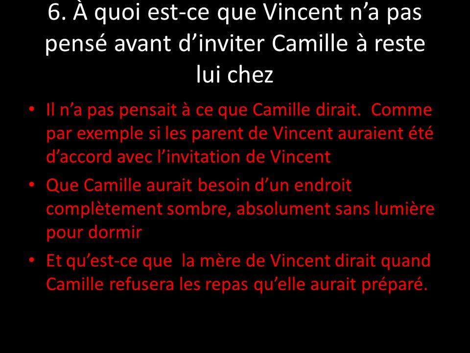 6. À quoi est-ce que Vincent n'a pas pensé avant d'inviter Camille à reste lui chez