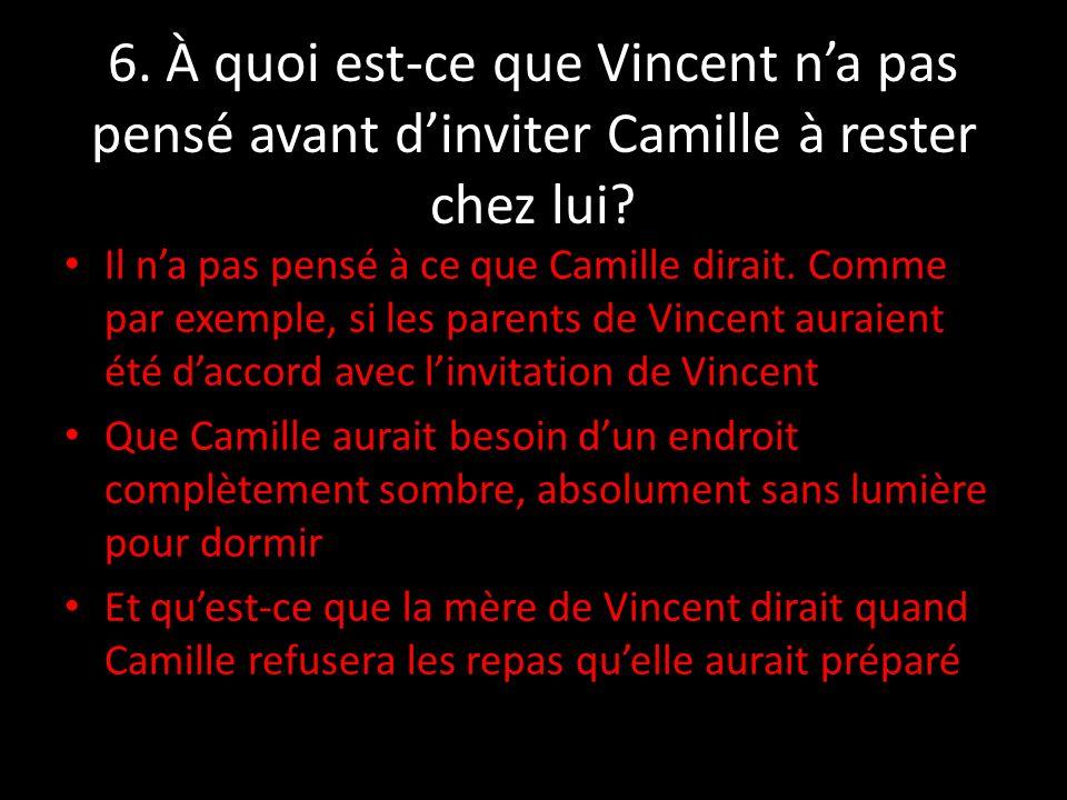 6. À quoi est-ce que Vincent n'a pas pensé avant d'inviter Camille à rester chez lui