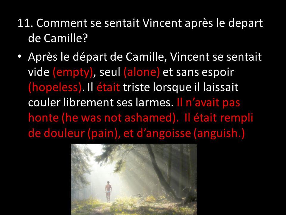 11. Comment se sentait Vincent après le depart de Camille