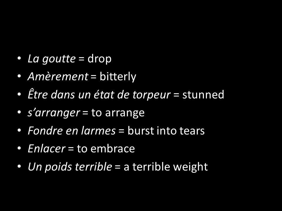 La goutte = drop Amèrement = bitterly. Être dans un état de torpeur = stunned. s'arranger = to arrange.