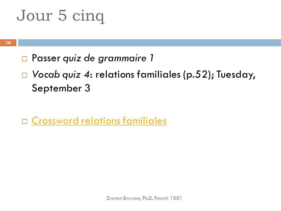 Jour 5 cinq Passer quiz de grammaire 1