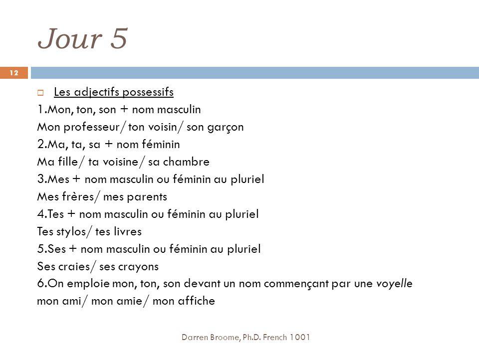 Jour 5 Les adjectifs possessifs 1.Mon, ton, son + nom masculin