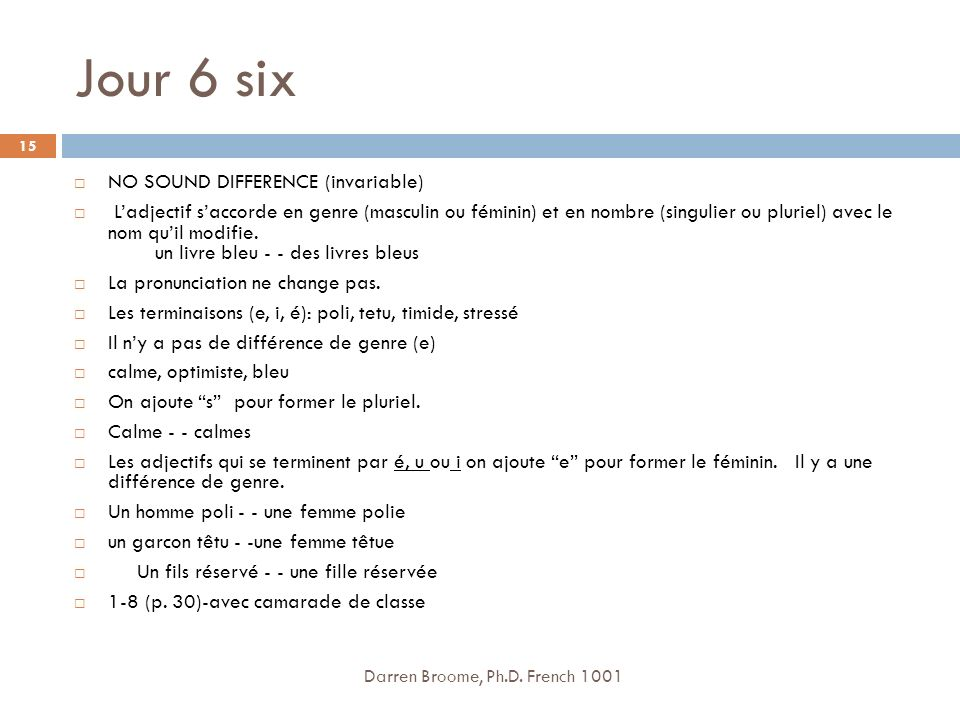 Jour 6 six NO SOUND DIFFERENCE (invariable)