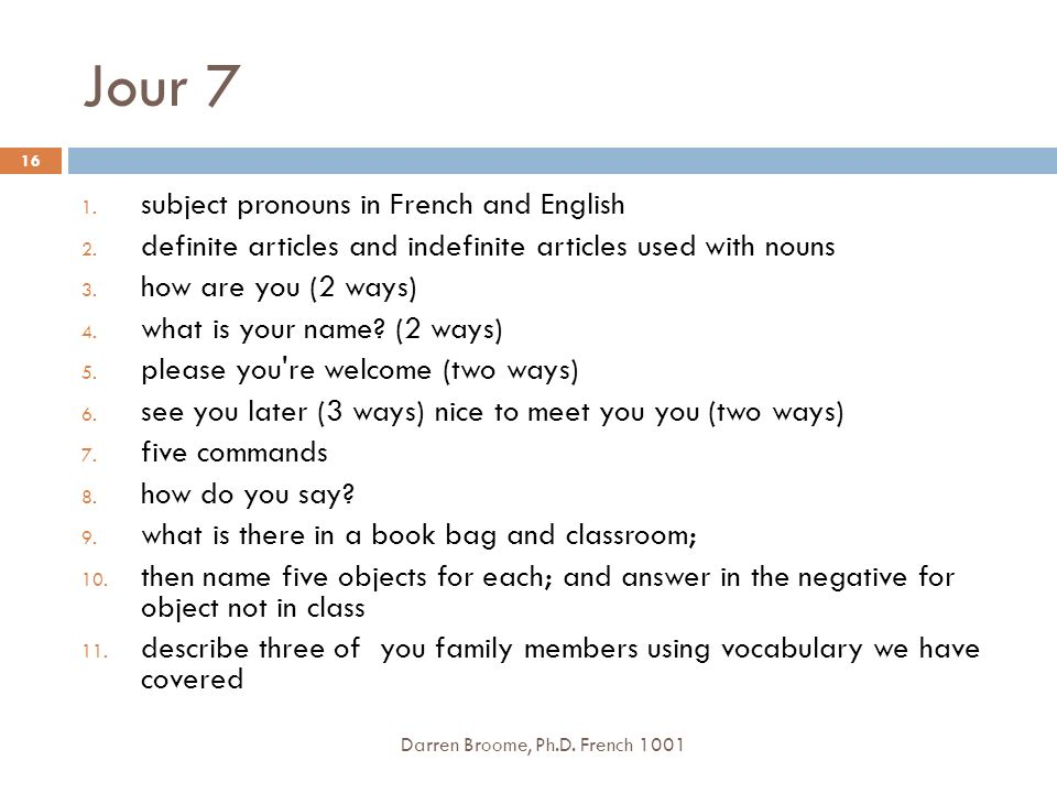 Jour 7 subject pronouns in French and English