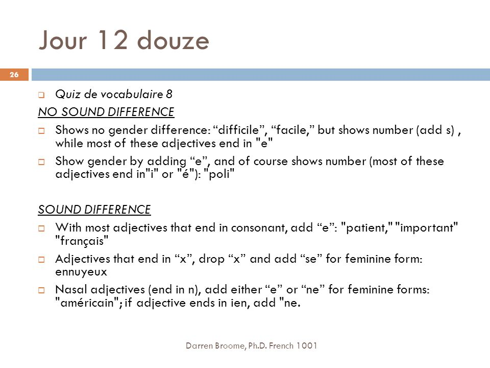 Jour 12 douze Quiz de vocabulaire 8 NO SOUND DIFFERENCE
