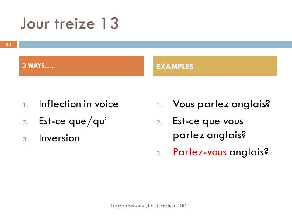 Jour treize 13 Inflection in voice Est-ce que/qu' Inversion