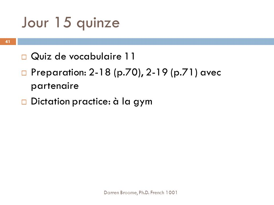 Jour 15 quinze Quiz de vocabulaire 11