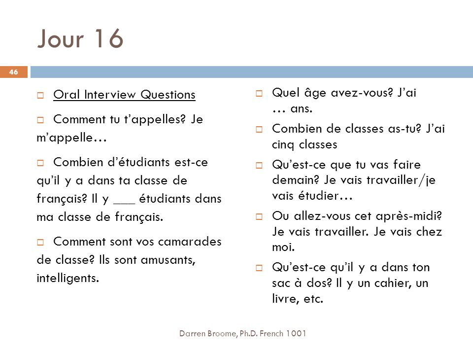 Jour 16 Oral Interview Questions Comment tu t'appelles Je m'appelle…