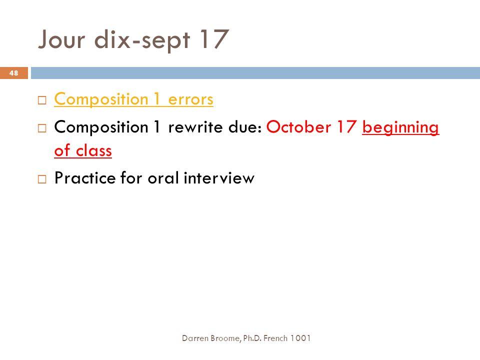 Jour dix-sept 17 Composition 1 errors