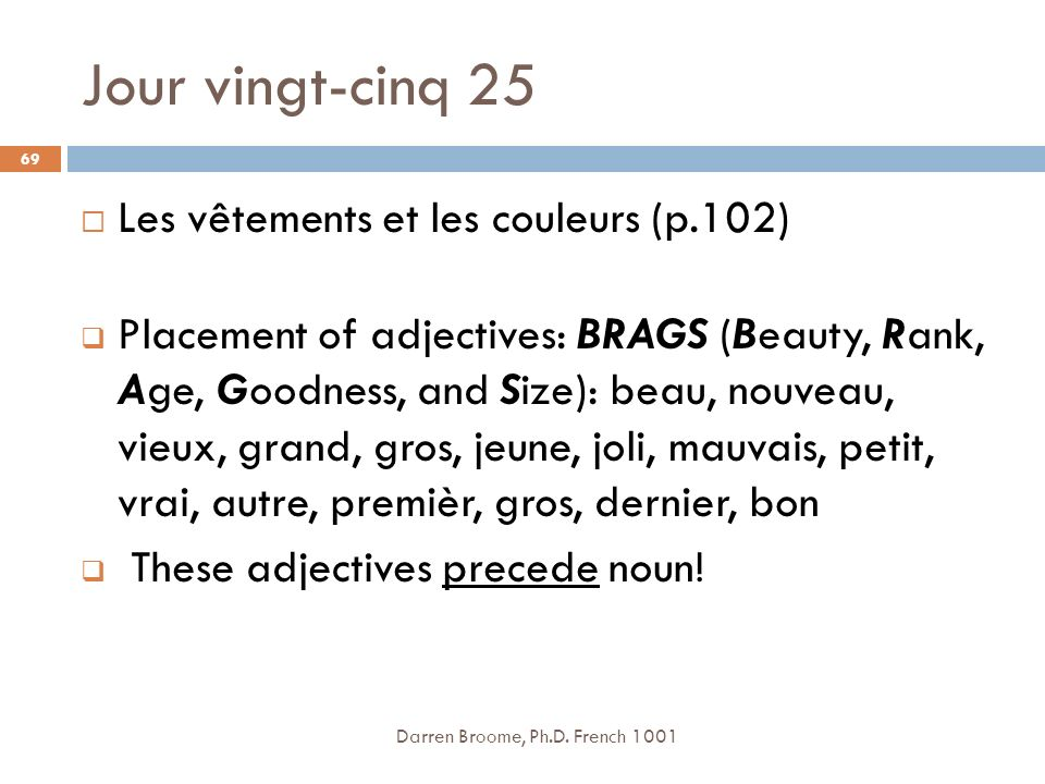 Jour vingt-cinq 25 Les vêtements et les couleurs (p.102)