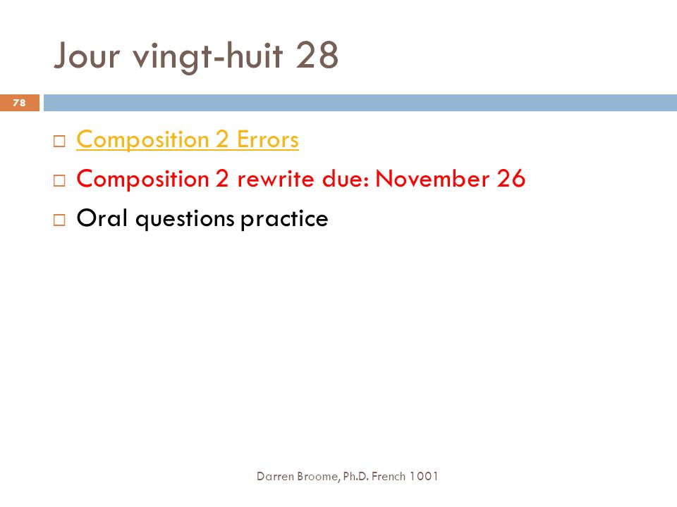 Jour vingt-huit 28 Composition 2 Errors