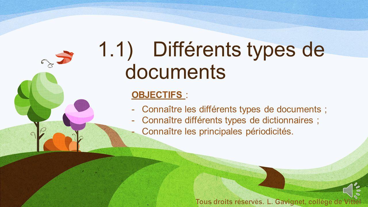 1.1) Différents types de documents