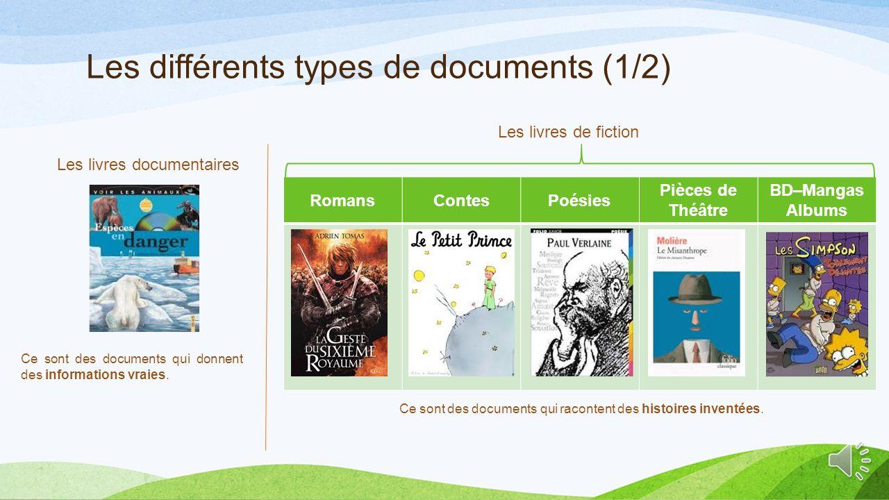Les différents types de documents (1/2)
