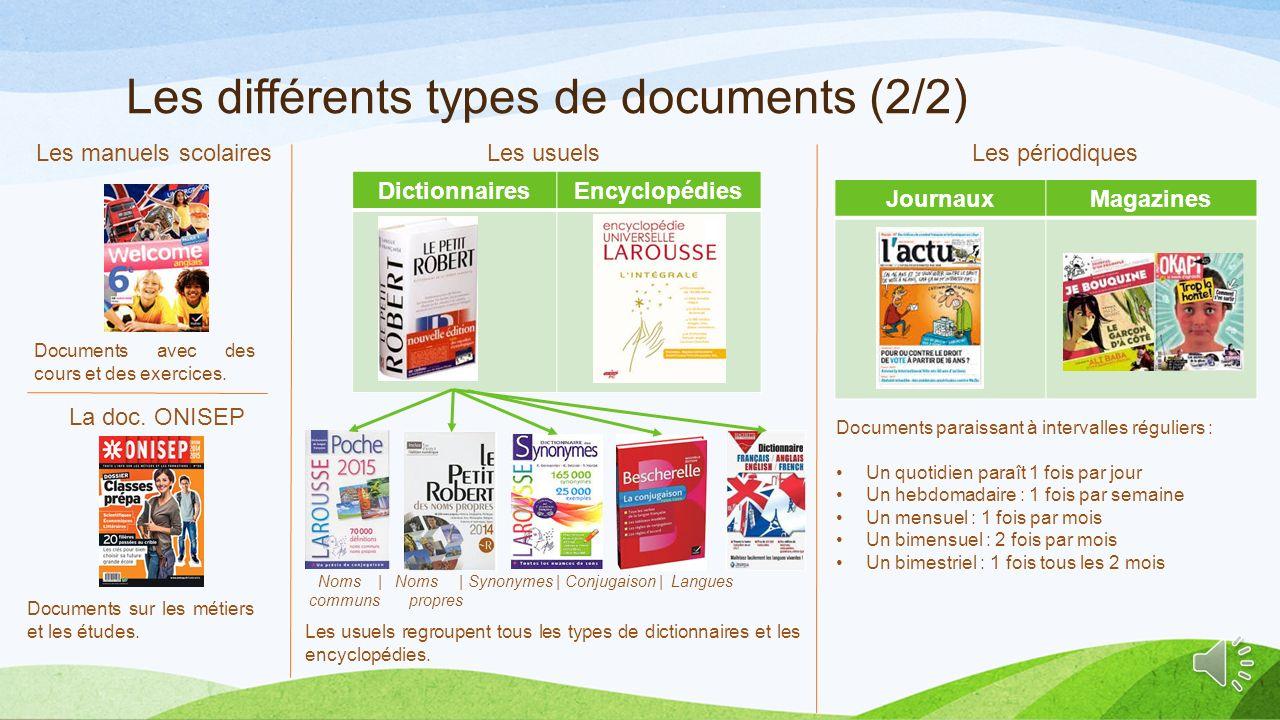 Les différents types de documents (2/2)