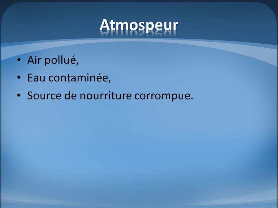 Atmospeur Air pollué, Eau contaminée, Source de nourriture corrompue.