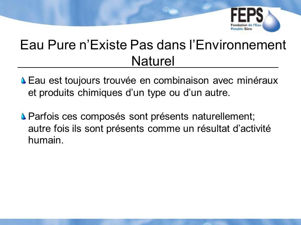 Eau Pure n'Existe Pas dans l'Environnement Naturel