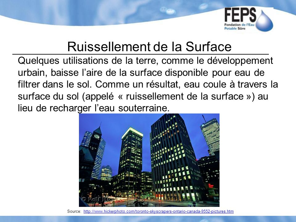 Ruissellement de la Surface