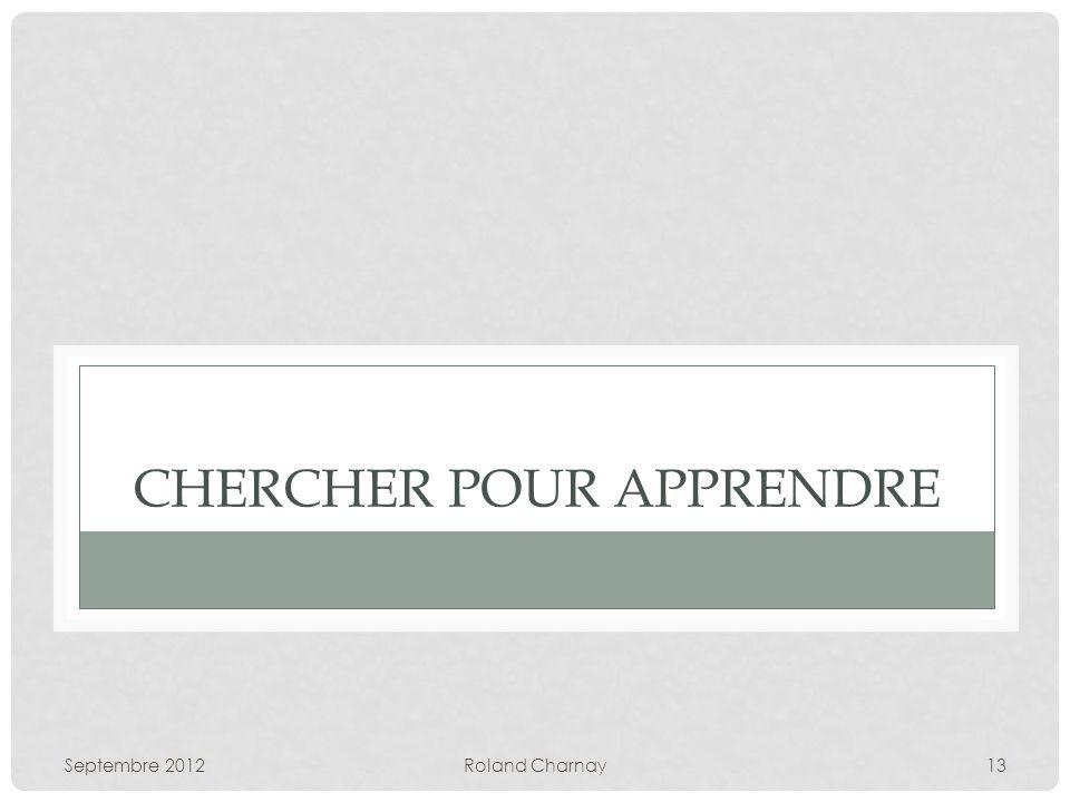 CHERCHER POUR APPRENDRE