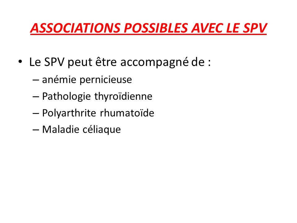 ASSOCIATIONS POSSIBLES AVEC LE SPV