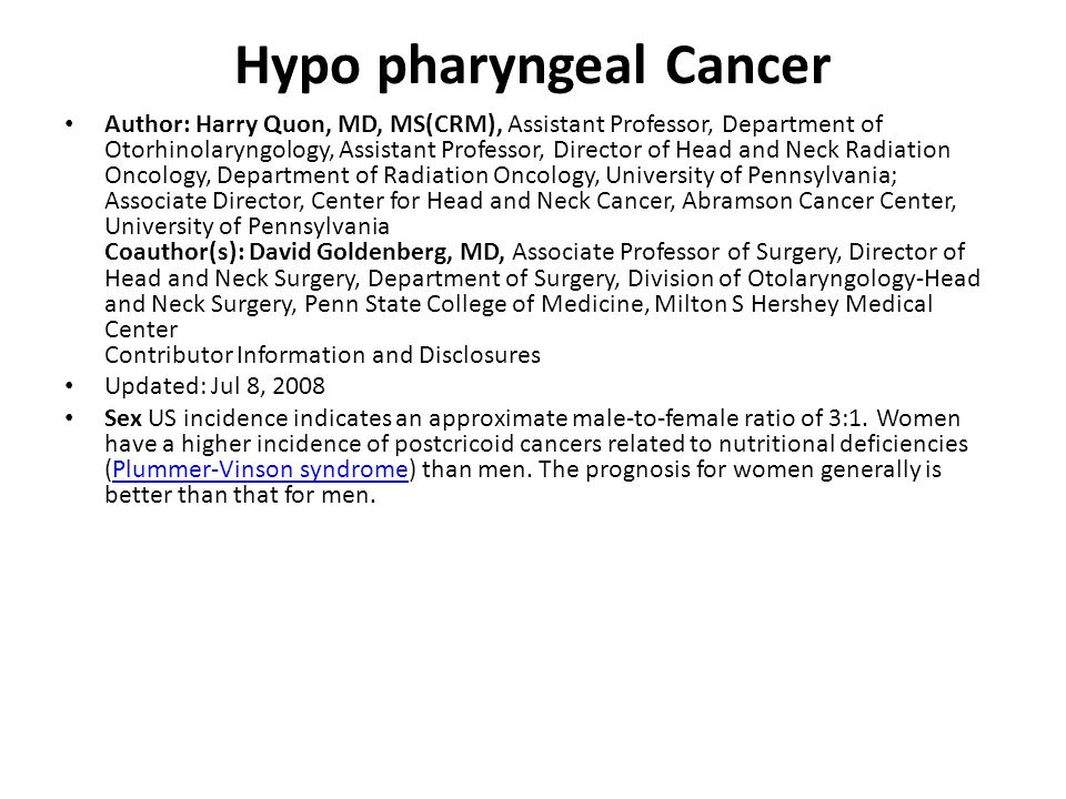 Hypo pharyngeal Cancer