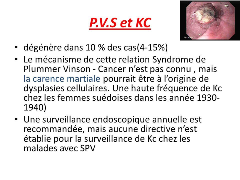 P.V.S et KC dégénère dans 10 % des cas(4-15%)