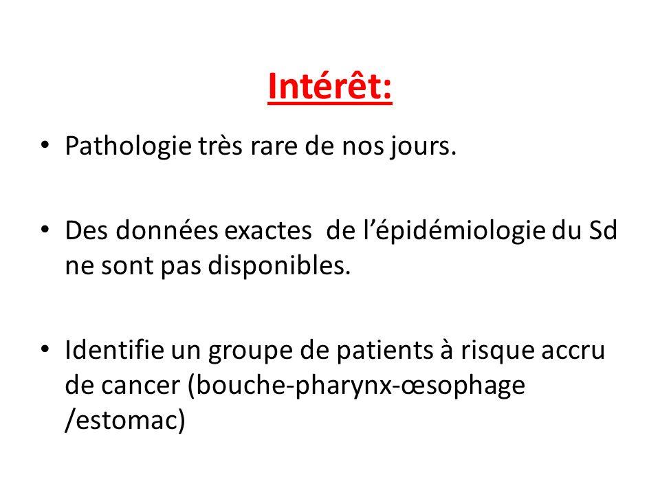 Intérêt: Pathologie très rare de nos jours.