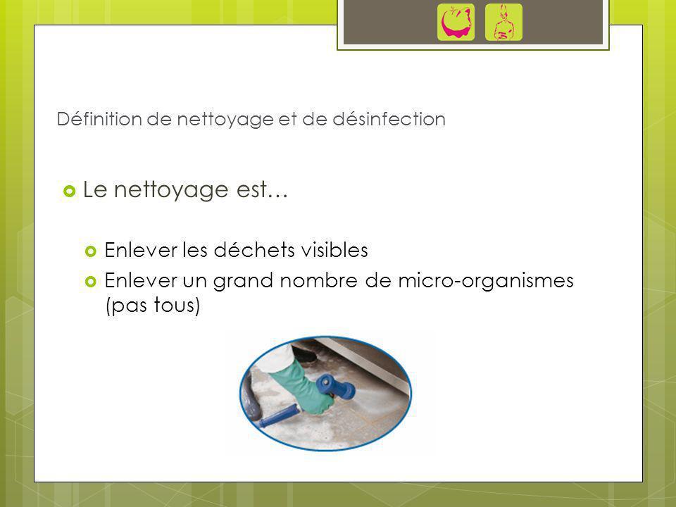 Le nettoyage est… Enlever les déchets visibles