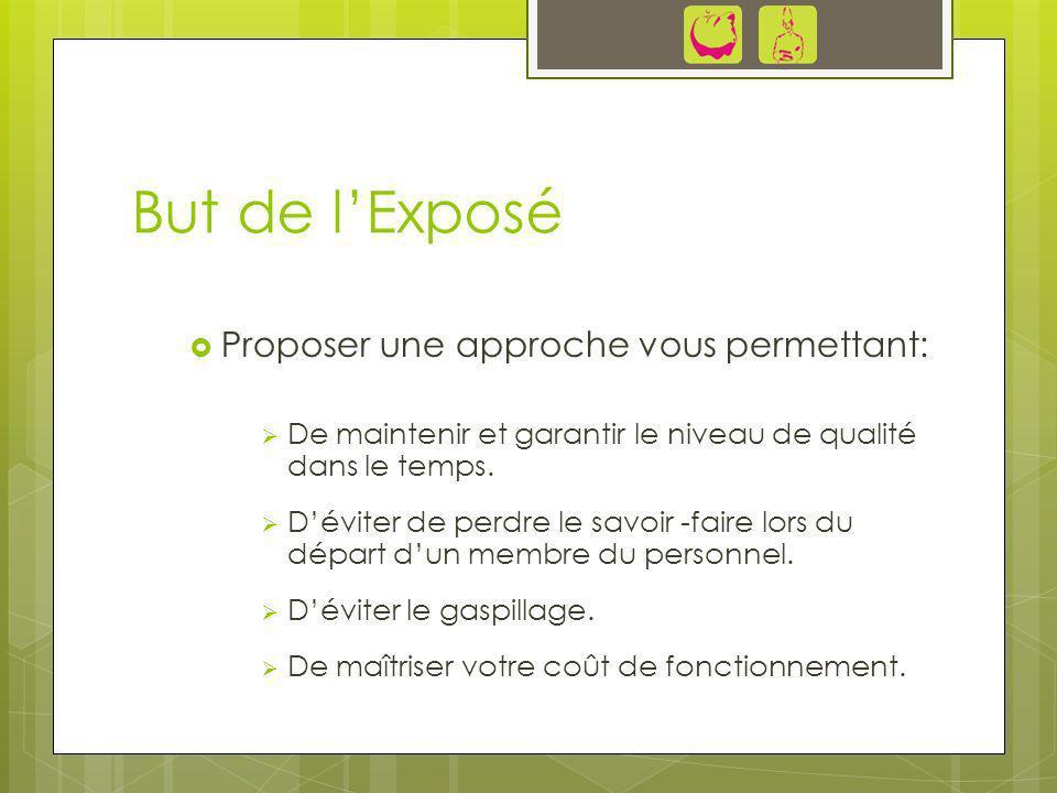 But de l'Exposé Proposer une approche vous permettant: