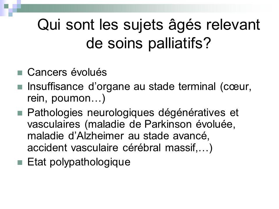 Qui sont les sujets âgés relevant de soins palliatifs
