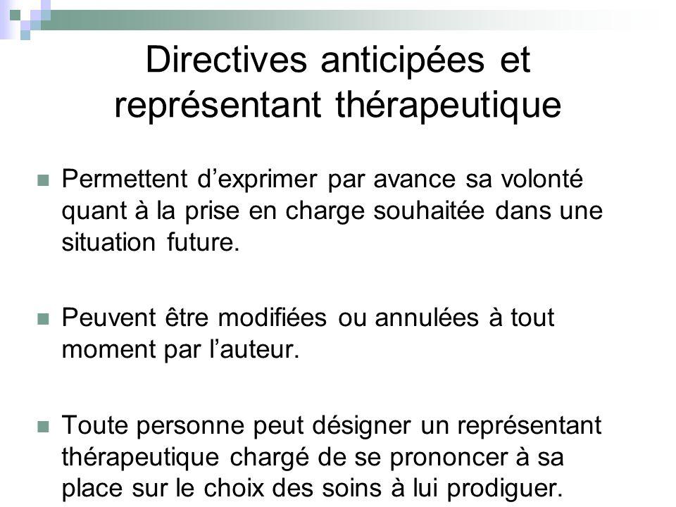 Directives anticipées et représentant thérapeutique