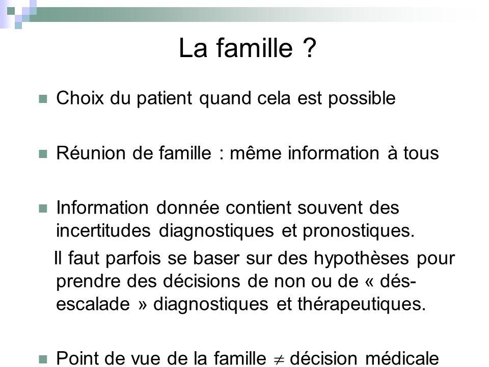La famille Choix du patient quand cela est possible