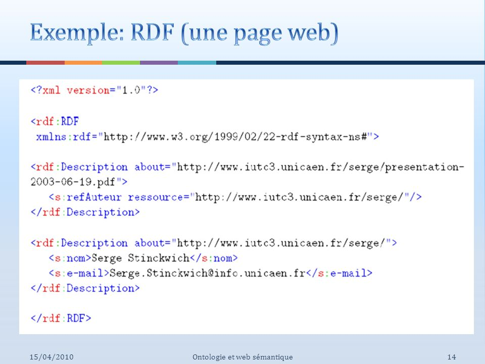 Exemple: RDF (une page web)