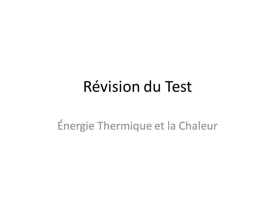 Énergie Thermique et la Chaleur