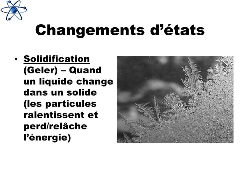 Changements d'états Solidification (Geler) – Quand un liquide change dans un solide (les particules ralentissent et perd/relâche l'énergie)